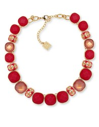 Anne Klein Epoxy Stone Goldtone Collar Necklace Coral