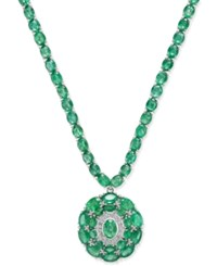 Macy's Emerald 45 Ct. T.W. And Diamond 1 8 Ct. T.W. Pendant Necklace In Sterling Silver Green