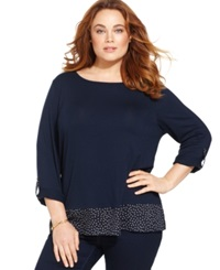 Charter Club Plus Size Layered Polka Dot Top Intrepid Blue Combo