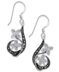 Macy's Marcasite And Crystal Flower Drop Earrings In Fine Silver Plate White