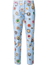 Moschino Jewel Print Slim Fit Jeans Blue
