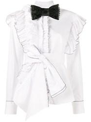 Preen By Thornton Bregazzi Morgana Ruffle Shirt Women Cotton S White