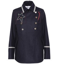 Valentino Embroidered Wool Coat Blue