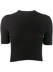 Mrz Ribbed Knitted Top Black