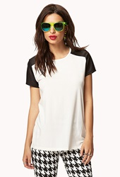 Forever 21 Faux Leather Sleeve Tee Ivory Black