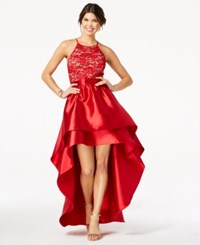 Emerald Sundae Juniors' Lace High Low Gown Red
