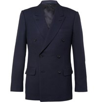 Kingsman Blue Harry Double Breasted Wool And Mohair Blend Hopsack Blazer Navy