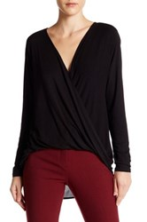 Abound Long Sleeve Surplice Blouse Black