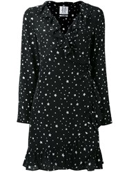 Zoe Karssen Stars Print Ruffled Dress Black