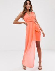 Tfnc Wrap Front Dress With Asymmetric Hem In Coral Orange
