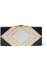 Halston Heritage Marbled And Glittered Acrylic Clutch Black