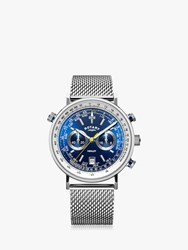 Rotary Gb05235 05 'S Henley Chronograph Date Mesh Bracelet Strap Strap Watch Silver Blue