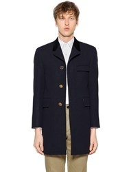 Thom Browne Chesterfield Melton Wool Coat Navy