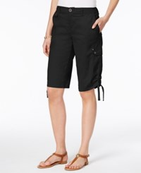 Style And Co Petite Ruched Hem Cargo Bermuda Shorts Only At Macy's Deep Black