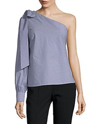 Lea And Viola One Shoulder Bow Top Royal