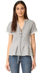 Maven West Laura Lace Up Peplum Top Heather Grey