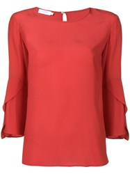 Barba Bell Sleeve Blouse Red