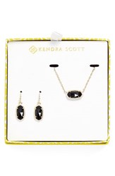 Women's Kendra Scott Necklace And Earrings Set Black Opaque Glass Gold