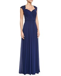 La Femme Belted Lace And Chiffon Gown Navy