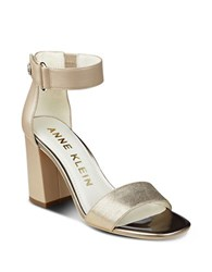 Anne Klein Watchme Leather Sandals Natural Gold
