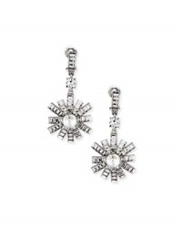 Oscar De La Renta Modern Baguette Crystal Earrings Clear
