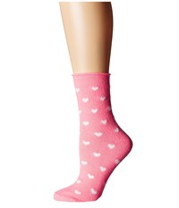 Plush Thin Rolled Fleece Socks Neon Pink Heart Women's Crew Cut Socks Shoes