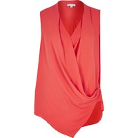 River Island Womens Red Wrap Front Sleeveless Blouse