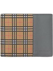 Burberry Small Scale Check And Leather Bifold Wallet Yellow And Orange