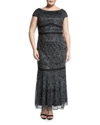 Brianna Plus Short Sleeve Fitted Beaded Gown Anthracite