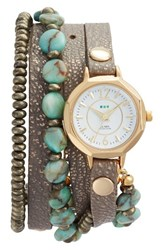 La Mer Women's Collections Stone And Leather Wrap Strap Watch 35Mm
