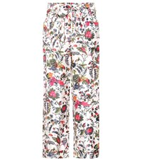 Tory Burch Floral Printed Silk Trousers Multicoloured