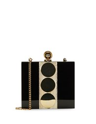 Halston Mirrored Dot Accented Miniaudiere Black Gold