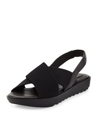 Eileen Fisher Trek Crisscross Wedge Sandal Women's Black