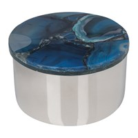 Amara Agate Topped Silver Trinket Box Blue