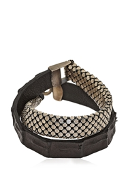 Laura B Silver Plated Brass And Leather Bracelet Black Silver
