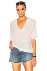 James Perse Boxy Cashmere Polo Sweater In White