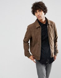 Goosecraft Suede Jacket In Taupe Taupe Brown