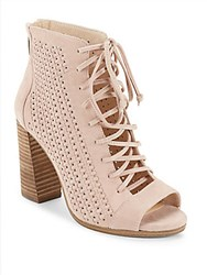 Vince Camuto Kevina Perforated Lace Up Booties Light Pink
