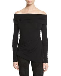 Urban Zen Stretch Jersey Long Sleeve Off The Shoulder Top Black