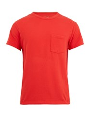 American Vintage Patch Pocket Cotton Blend T Shirt Red