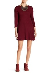 Angie 3 4 Length Sleeve Lightweight Sweater Dress Red