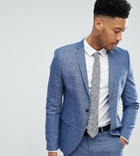 Selected Homme Tall Skinny Fit Suit Jacket In Navy Grid Check Light Blue Check