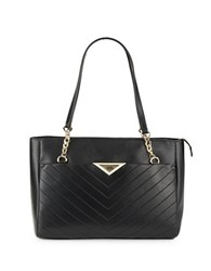 Karl Lagerfeld Quilted Leather Tote Black Gold