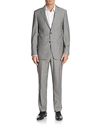 Michael Kors Regular Fit Plaid Wool Suit Light Grey