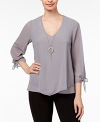 Thalia Sodi V Hem Tie Sleeve Top Created For Macy's Mid Grey