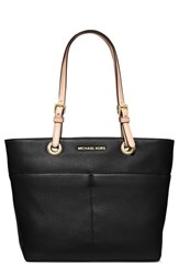 Michael Michael Kors 'Bedford' Top Zip Leather Pocket Tote Black
