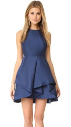 Halston High Neck Structured Dress Navy