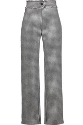 J.W.Anderson Houndstooth Wool Blend Straight Leg Pants Black