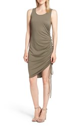 Trouve Side Shirred Body Con Dress Olive Brown