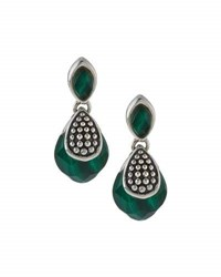 Lagos Maya Silver Malachite Double Drop Earrings Green